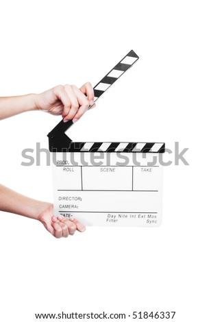 Hands holding out a clapper board.  Shot on white background. - stock photo