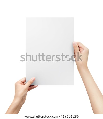 hands holding paper blank a4 size. letter paper.   - stock photo