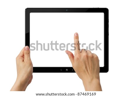 Hands holding PC tablet with three clipping paths. - stock photo