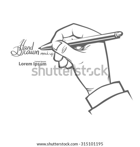 hands holding pen, writing something, simple illustration, hand drawn, isolated on white background