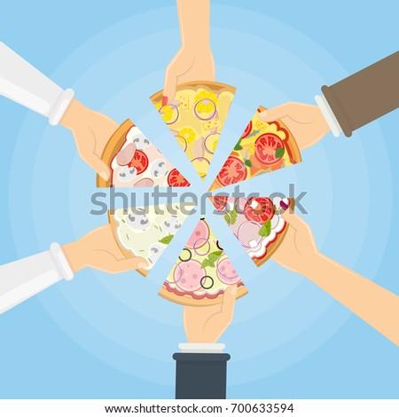 Hands Holding Pizza Symbol Togetherness Sharing Stock Illustration