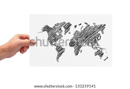 hands holding poster with world map - stock photo