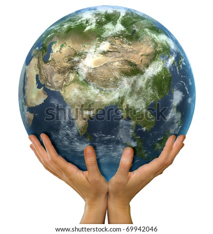 Hands holding realistic big globe symbolizing environmental care, facing Asia