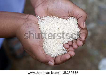 Hands holding rice form a love symbol - stock photo