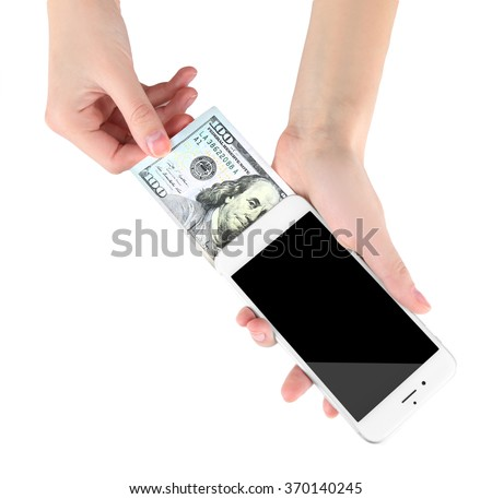 Hands holding smart phone and dollar banknote, isolated on white. Telephone charges - stock photo