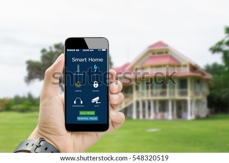 Smart House Phone smart home stock images, royalty-free images & vectors | shutterstock