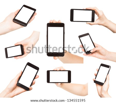 Hands holding smart phones isolated on white background - stock photo