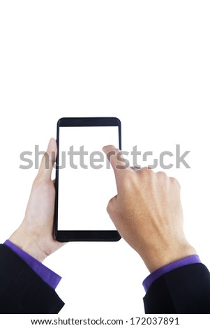 Hands holding smartphone with blank screen on white background