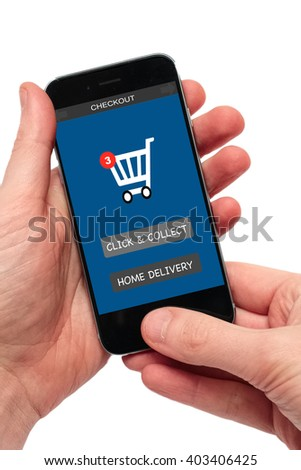 hands holding smartphone with signs click and collect or home delivery - stock photo