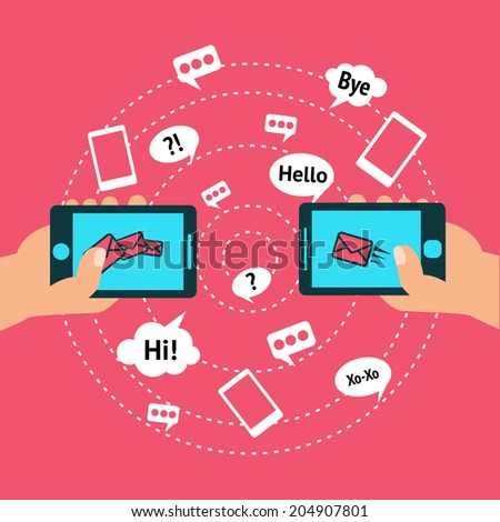 Hands holding smartphones touch screen with communication icon sets poster  illustration