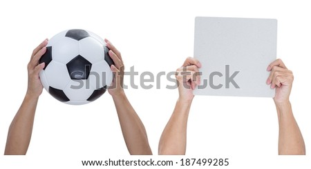 Hands holding soccer ball and paper isolated on white background with clipping path - stock photo