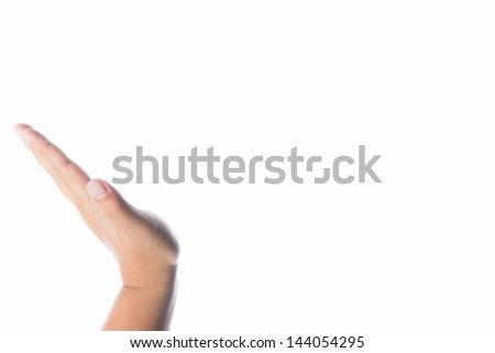 Hands holding something invisible - you can add your image there, white background - stock photo