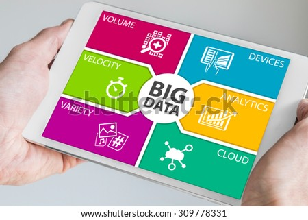 Hands holding tablet with big data dashboard. Modern information technology background. - stock photo