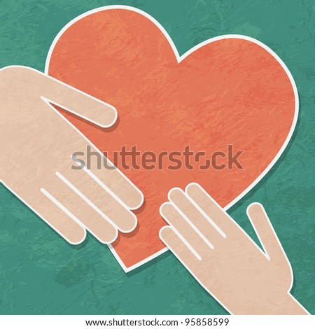 hands holding the heart. charity - stock photo