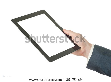 hands holding the tablet computer - stock photo