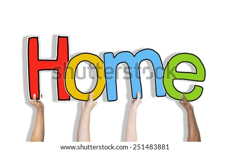 Hands Holding the Word Home Concept - stock photo