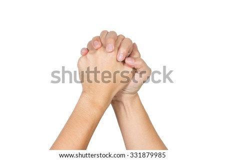 hands holding together isolated on white background - stock photo