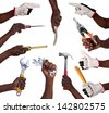 Hands holding tools isolated on white background - stock photo