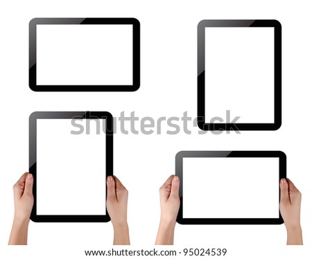 Hands holding touch screen tablet pc with blank screen - stock photo