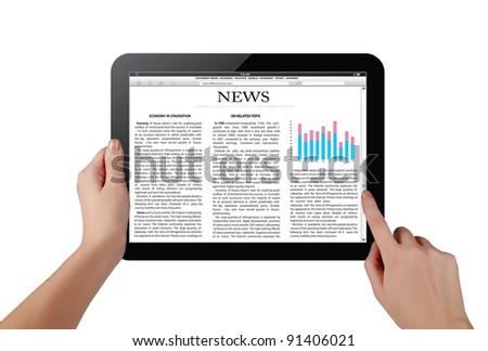 Hands holding touch screen tablet pc with business article - stock photo