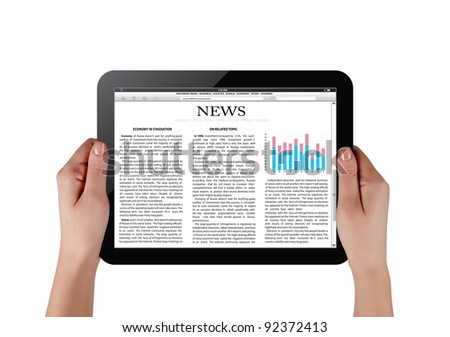 Hands holding touch screen tablet pc with business article