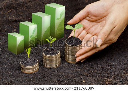 hands holding tress growing on coins in germination sequence / csr / sustainable development / business growth - stock photo