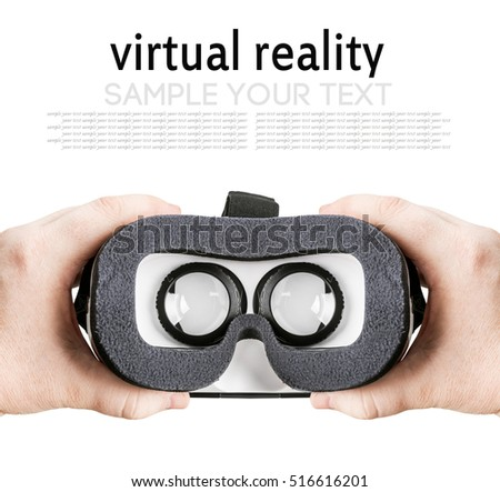 hands holding virtual glasses on a white background. delete text