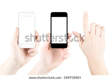 Hands holding white and black smartphones with blank screen. Isolated on white background. Template for designers