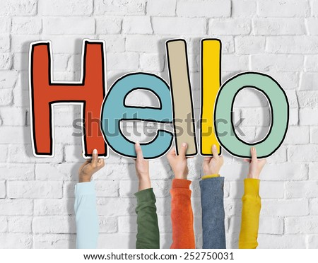 Hands Holding Word Hello Concept - stock photo
