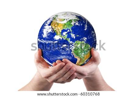 Hands holding world globe. Isolated on white.  Earth image courtesy of NASA - stock photo