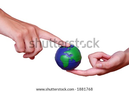 Hands holding world in classical pose - stock photo