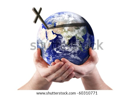 Hands holding world with cross. Isolated on white. Religious concept. Earth image courtesy of NASA. - stock photo