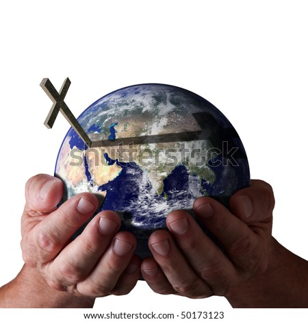 Hands holding world with cross on isolated black background. Religious Concept. Earth image courtesy of NASA. - stock photo