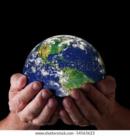 Hands holding world with north and south america. Earth image courtesy of NASA - stock photo