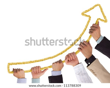 Hands holding yellow rope forming arrow pointing upwards - stock photo