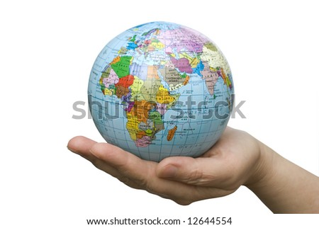 Hands holdings a globe on a whiteness