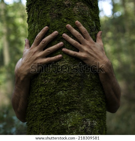 hands hugging a tree - stock photo