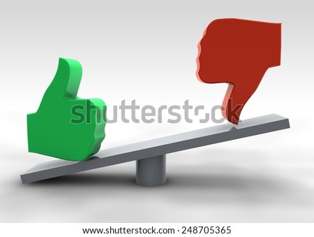 Hands in balance - like and dislike. 3d render - stock photo