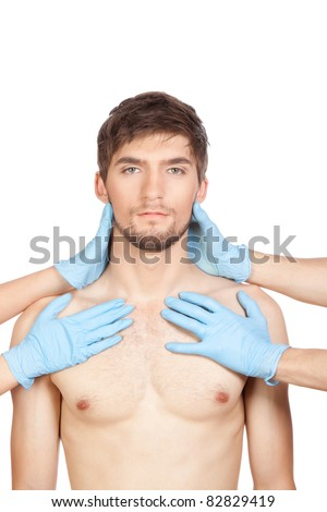 hands in blue gloves with syringe hold attractive young handsome male face, head, isolated over white background concept of plastic surgery, skincare, man beauty,  spa center - stock photo