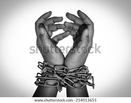 Hands in chain  - stock photo