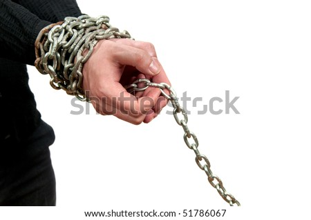 Hands in chains isolated on white background - stock photo
