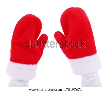 Hands in Christmas red gloves, isolated on white - stock photo