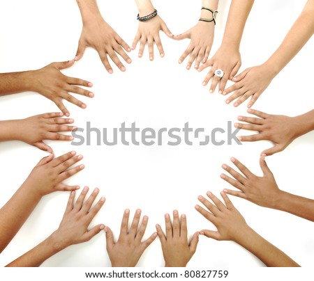 Hands in circle - stock photo