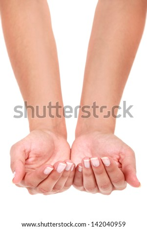 Hands in cupping position