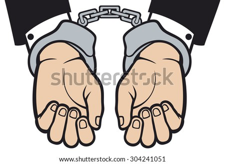 hands in handcuffs (man hands with handcuffs) - stock photo