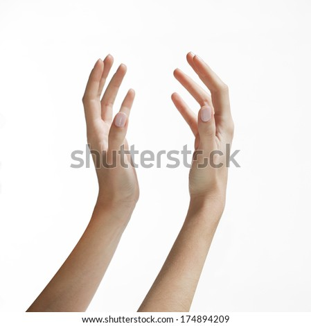 hands in holding position - stock photo