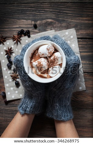 Hands in knitted mittens holding hot chocolate in grey heart cup with marshmallow and cinnamon, closeup - stock photo