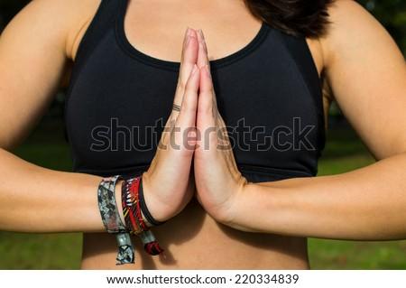 Hands in Namaste prayer mudra yoga pose - stock photo
