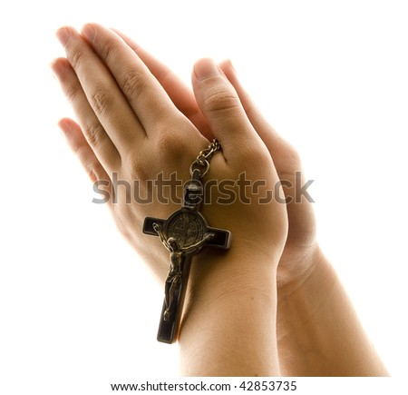 Hands in Prayer with Crucifix - stock photo