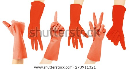 Hands in red gloves gesturing numbers isolated on white - stock photo